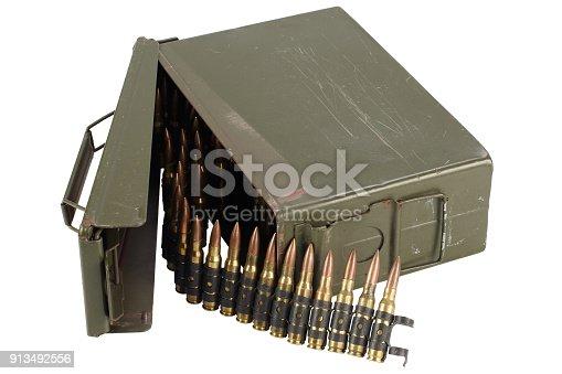 907208642 istock photo US Army Ammo Box with ammunition belt and bayonet 913492556