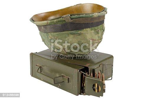 907208642 istock photo US Army Ammo Box with ammunition belt and helmet 913488598