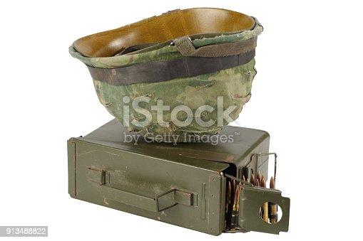 907208642 istock photo US Army Ammo Box with ammunition belt and helmet 913488822