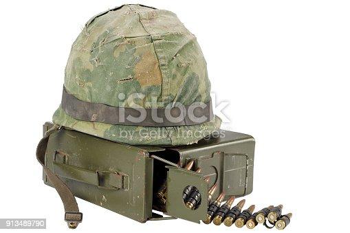 907208642 istock photo US Army Ammo Box with ammunition belt and helmet 913489790