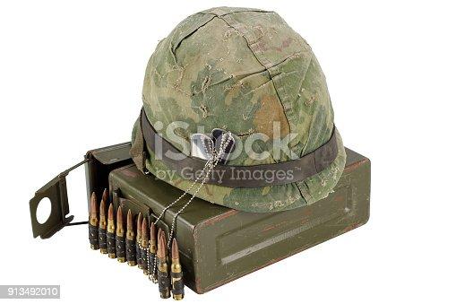 907208642 istock photo US Army Ammo Box with ammunition belt and helmet 913492010