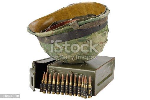 907208642 istock photo US Army Ammo Box with ammunition belt and helmet 913492218