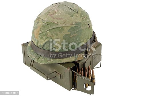 907208642 istock photo US Army Ammo Box with ammunition belt and helmet 913492818