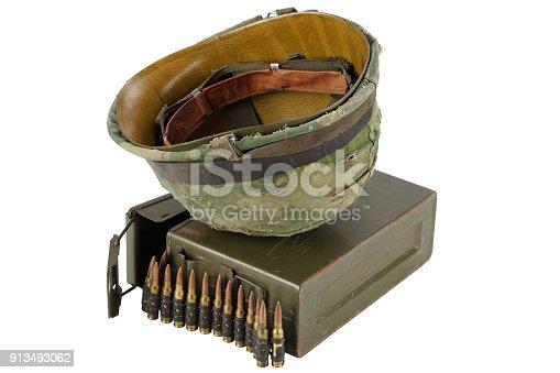 907208642 istock photo US Army Ammo Box with ammunition belt and helmet 913493062