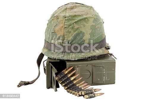 907208642 istock photo US Army Ammo Box with ammunition belt and helmet 913493442