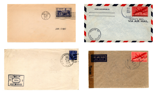 Four American envelopes with military postmarks: West Point 1937; US Army Postal Service (with British stamp, obviously posted at a US military base in the UK) 1944; 'Sailor's Mail' 1942 and US Navy 1944.