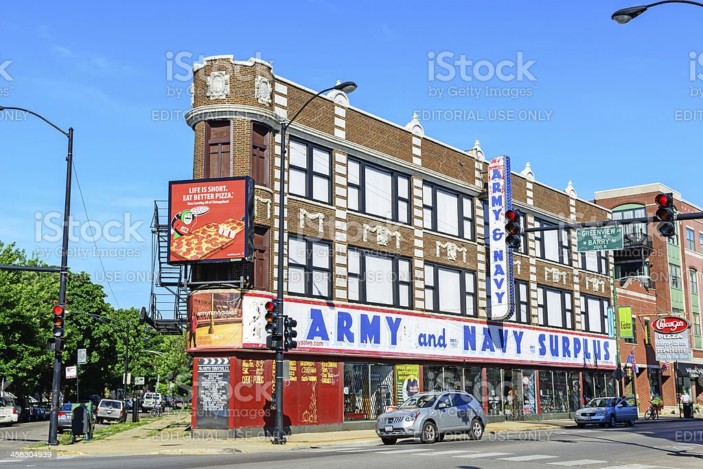 Army and Navy Surplus Store in Lakeview, Chicago royalty-free stock photo