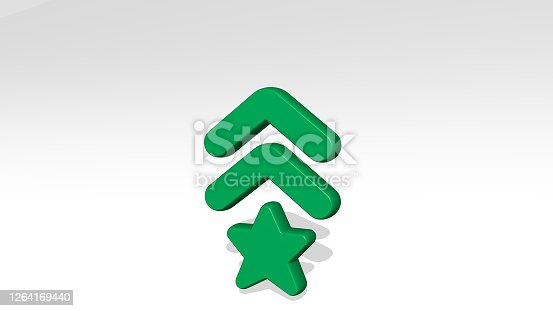 istock army badge made by 3D illustration of a shiny metallic sculpture with the shadow on light background. military and armed 1264169440