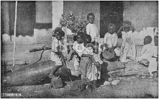 US Army black and white photos: Cuban children