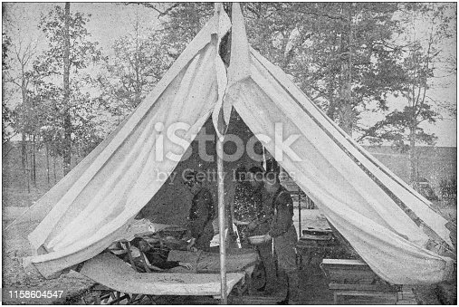 US Army black and white photos: Hospital camp tent