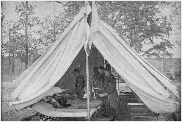US Army black and white photos: Hospital camp tent stock photo