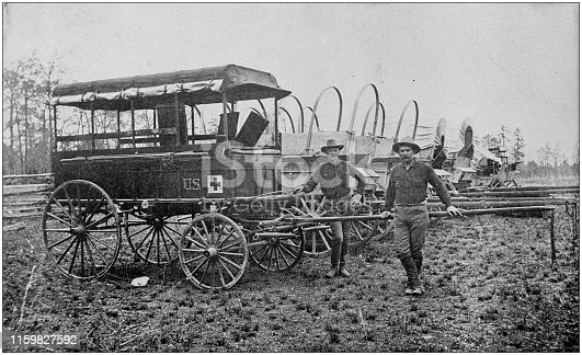 US Army black and white photos: Hospital patrol and supply wagons