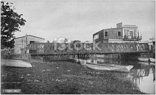US Army black and white photos: Iron truss bridge at Mayaguez, Puerto Rico