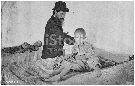 US Army black and white photos: Sick child starving in hospital of the American Orphans in Havana, Cuba