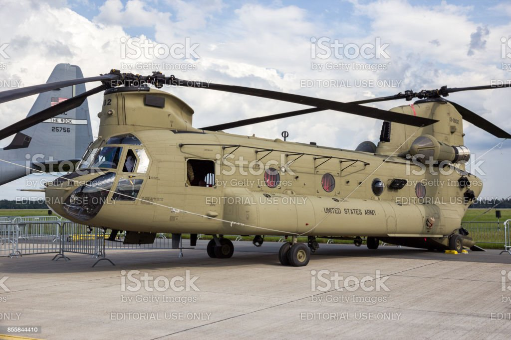 US Army Boeing Chinook transport helicopter stock photo