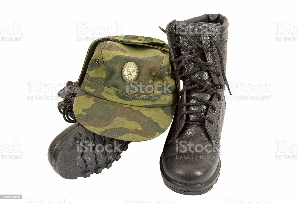 Army boots and cap royalty-free stock photo