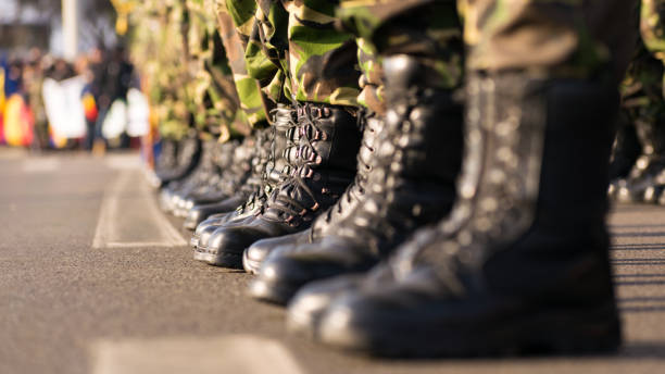 Army boots close up in line on parade day Army boots close up in line on parade day Afghanistan stock pictures, royalty-free photos & images