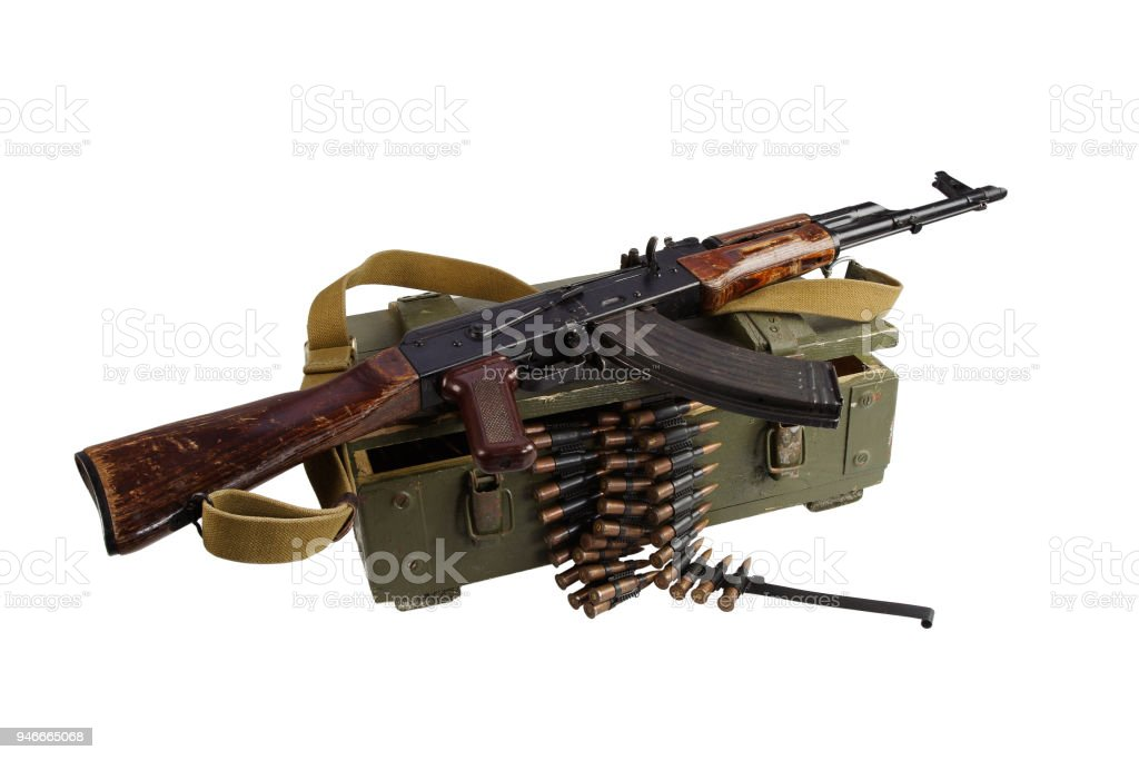 army box of ammunition with AK rifle and ammunition stock photo