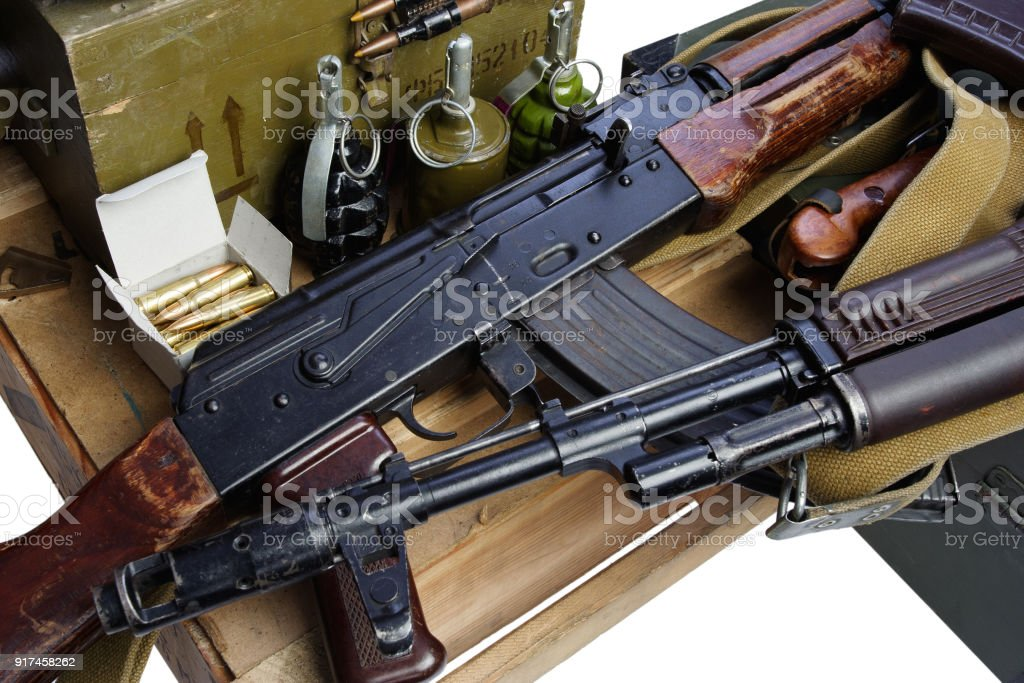 army box of ammunition with AK47 rifle and ammunition stock photo