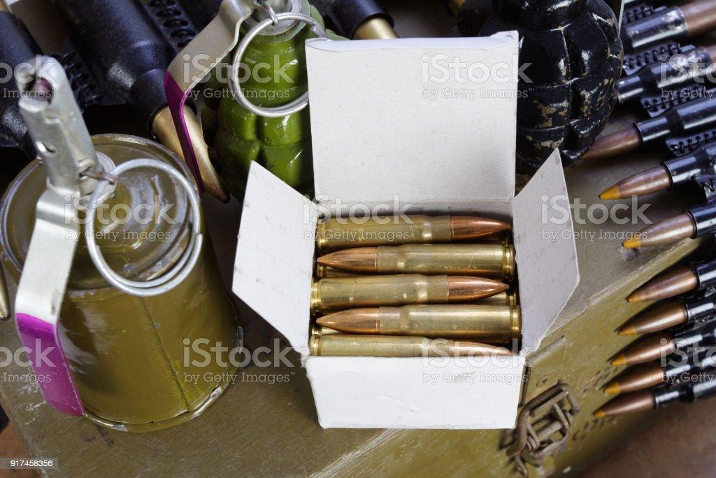 army box of ammunition with AK47 rifle and ammunition stock photo