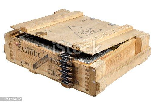 907208642 istock photo army box with ammunition belt 1064720158