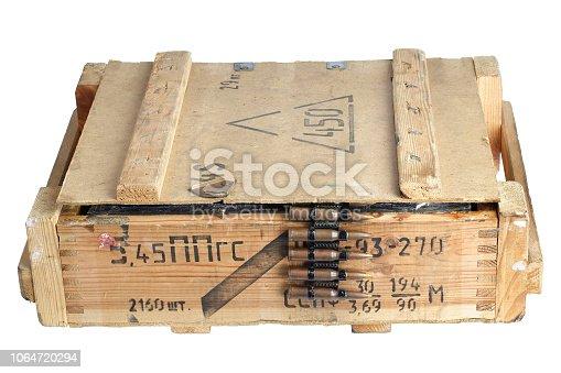 907208642 istock photo army box with ammunition belt 1064720294
