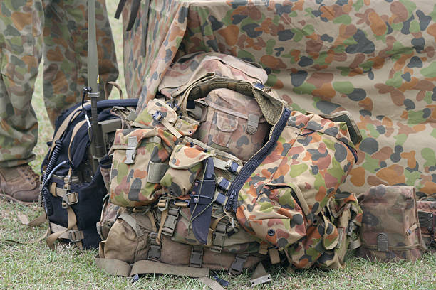 army camouflage bag stock photo
