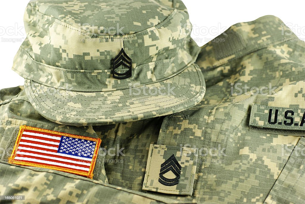 US Army Camouflage Uniform and Cap stock photo