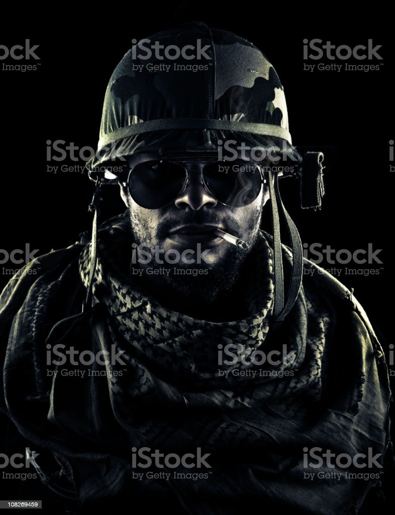 army captain puffing smoke royalty-free stock photo