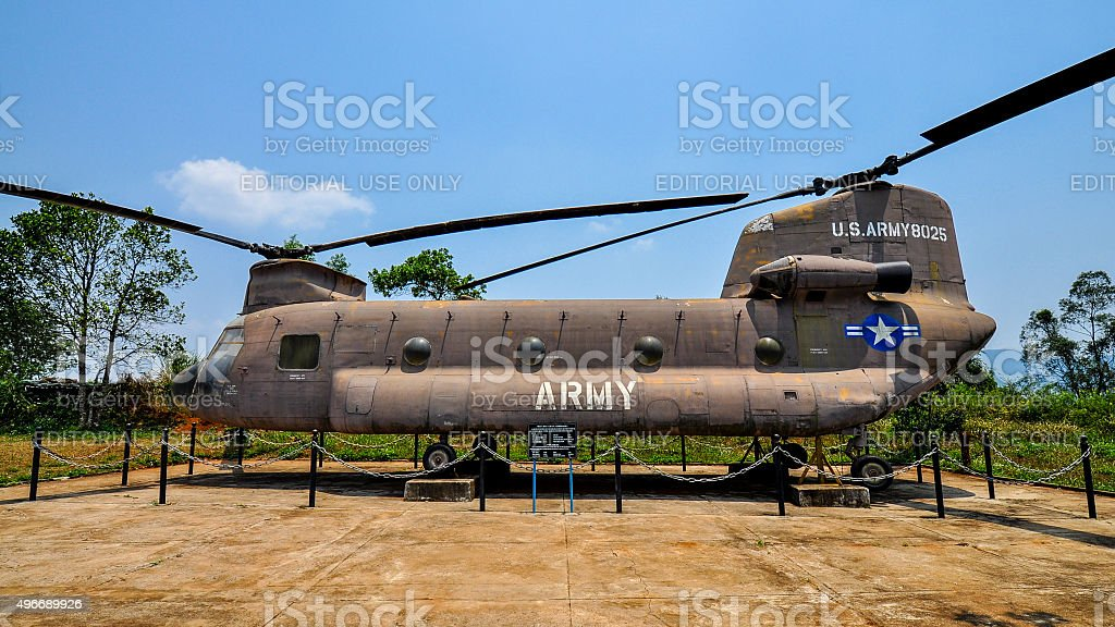 US Army Chinook Helicopter, Khe Sanh Combat Base, Vietnam stock photo