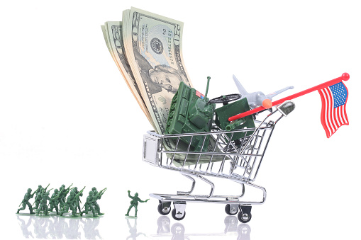 Us army cost theme with caddy, money, toy soldiers and artillery.
