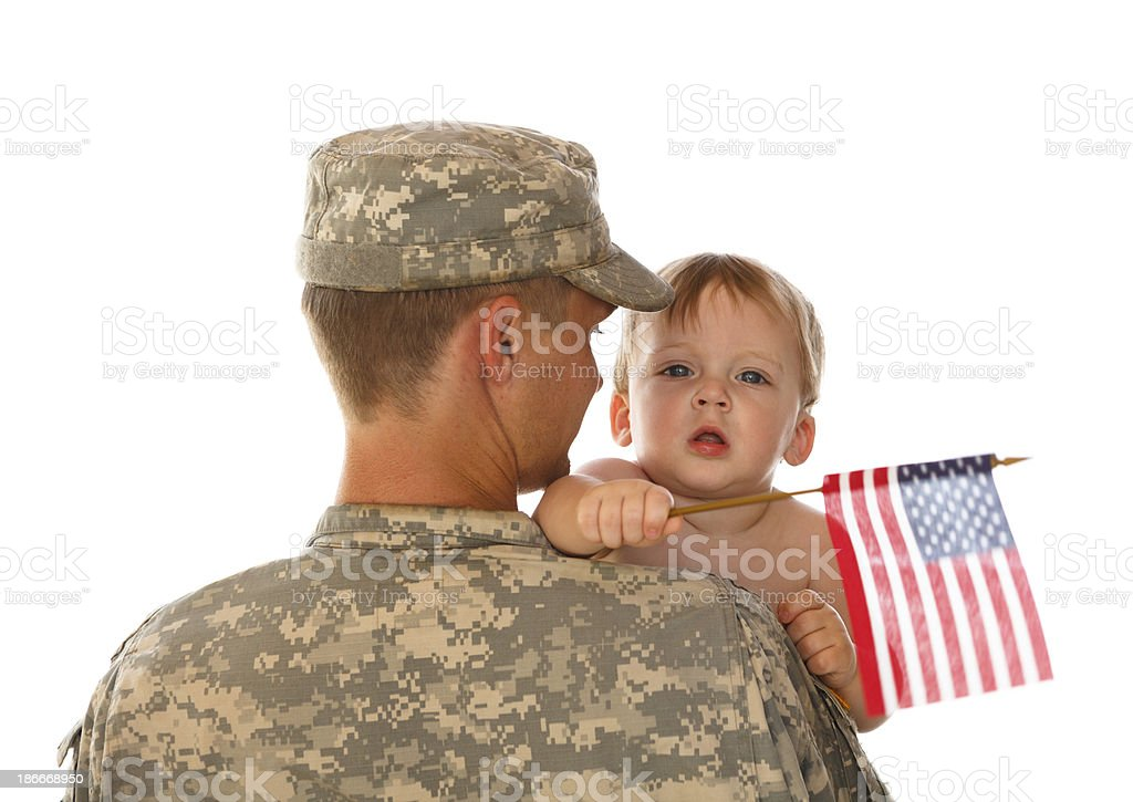 Army Dad and Son royalty-free stock photo