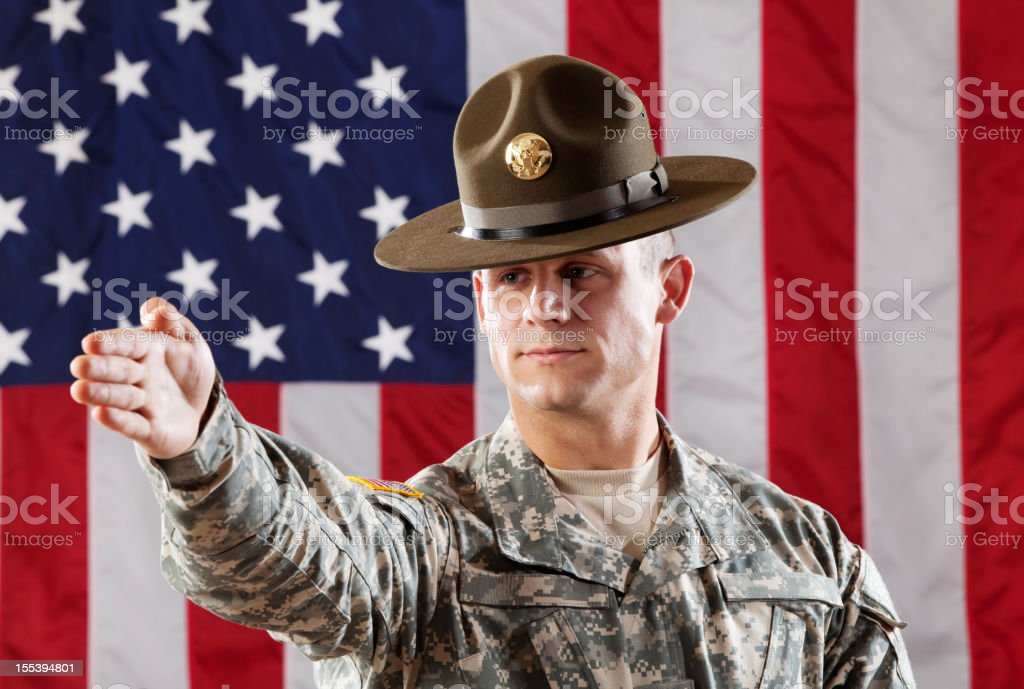 U S Army Drill Sergeant Giving Instruction stock photo