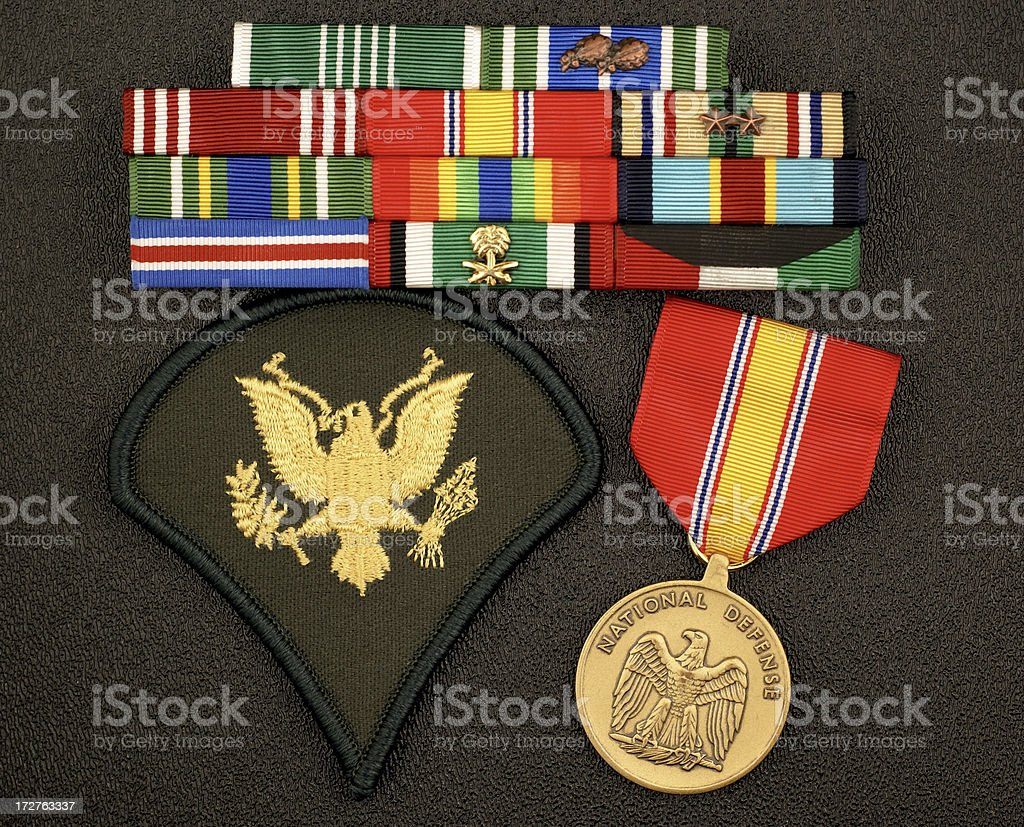 U.S. Army E4 Rank with Ribbons and Medal royalty-free stock photo