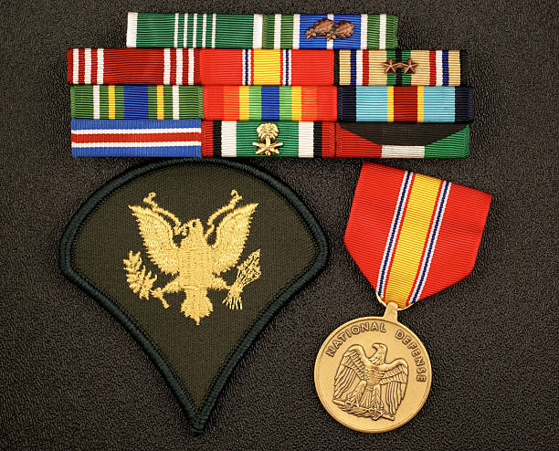 U.S. Army E4 Rank with Ribbons and Medal stock photo