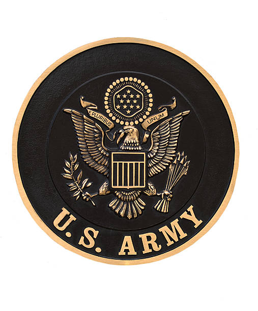 US Army emblem  Syracuse, New York, USA.May 17,2012.  Armed Forces plaque on permanant display at the New York State Fairgrounds insignia stock pictures, royalty-free photos & images