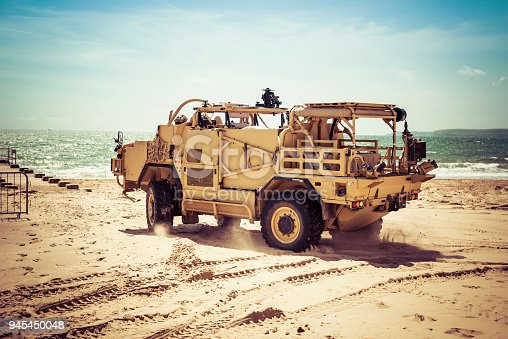 istock Army Exhibition of Action Vehicle 945450048
