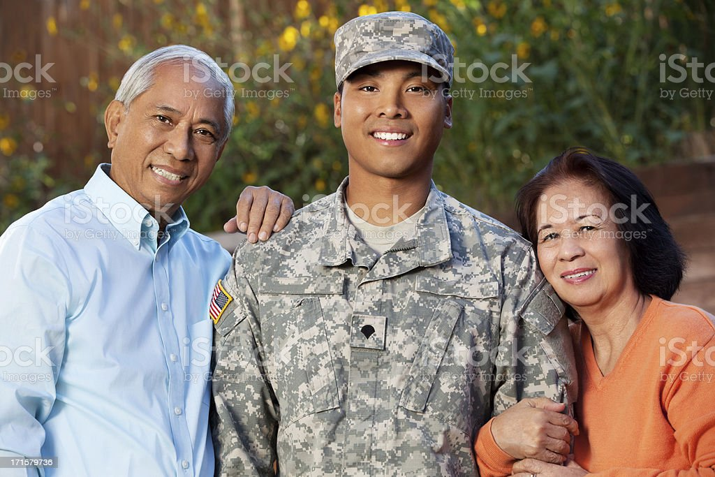 Army Family Portrait Outdoor stock photo