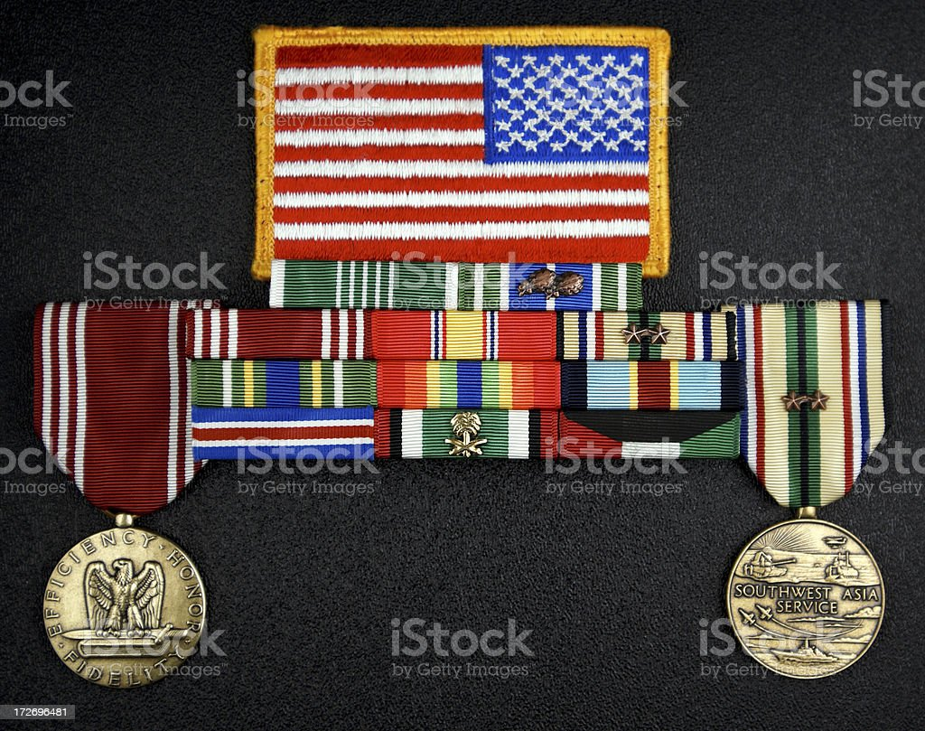 U.S. Army Flag Patch, Medals and Ribbons royalty-free stock photo