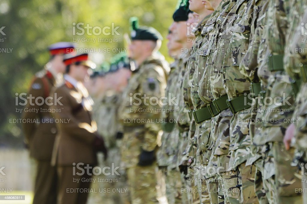 Army generals inspect a line of soldiers stock photo