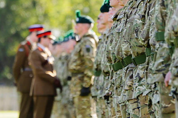 army generals inspect a line of soldiers - uk military stock photos and pictures