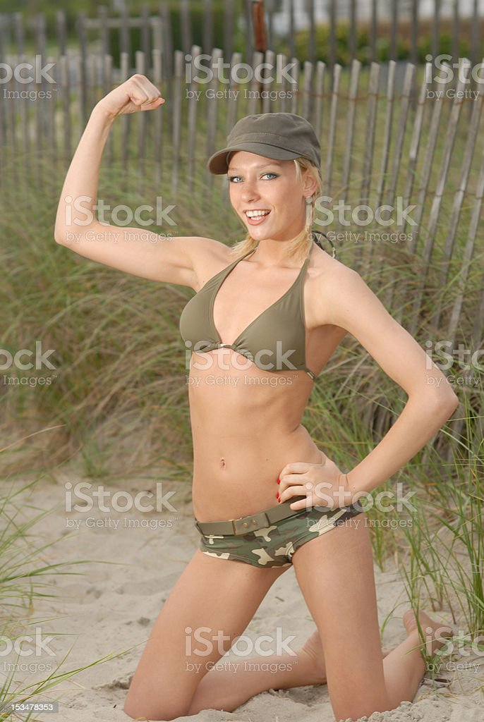 army girl muscle pose royalty-free stock photo