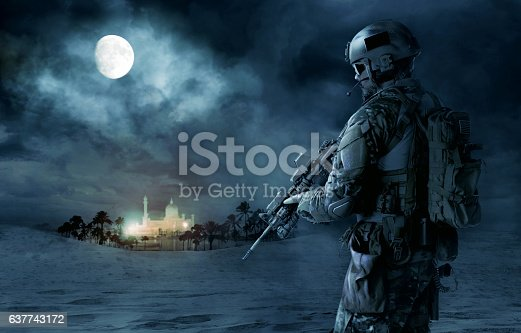 Green Berets US Army Special Forces soldier patrolling desert. Cloudy night, full moon, oasis palace