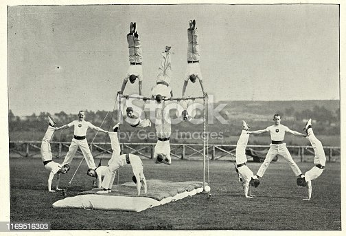 Vintage photograph of Army gymnastics team performing at Aldershot, 19th Century