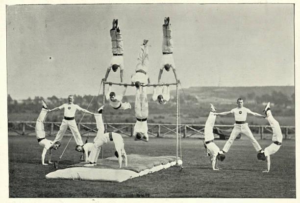Army gymnastics team performing at Aldershot, 19th Century stock photo