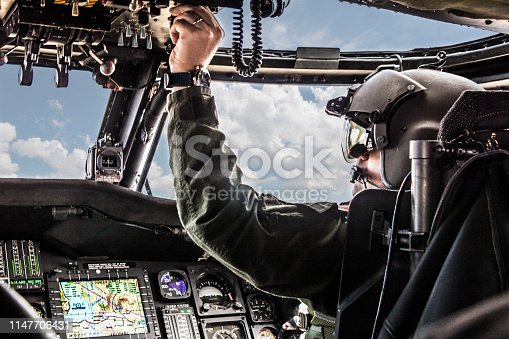 Army Helicopter Pilot riding Black  helicopter
