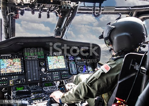 Army Helicopter Pilot riding helicopter