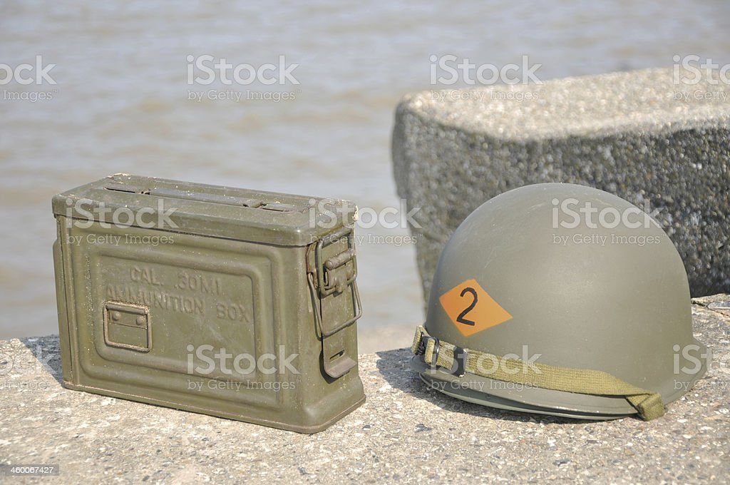 WW2 US Army Helmet & Ammo Box royalty-free stock photo
