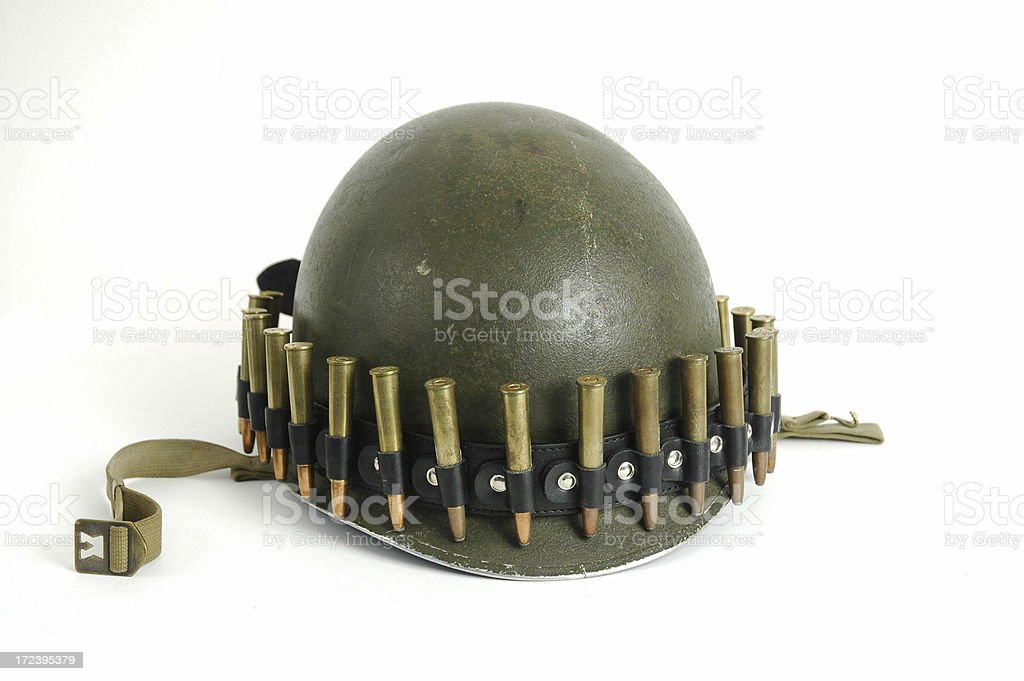 army  helmet and bullets royalty-free stock photo