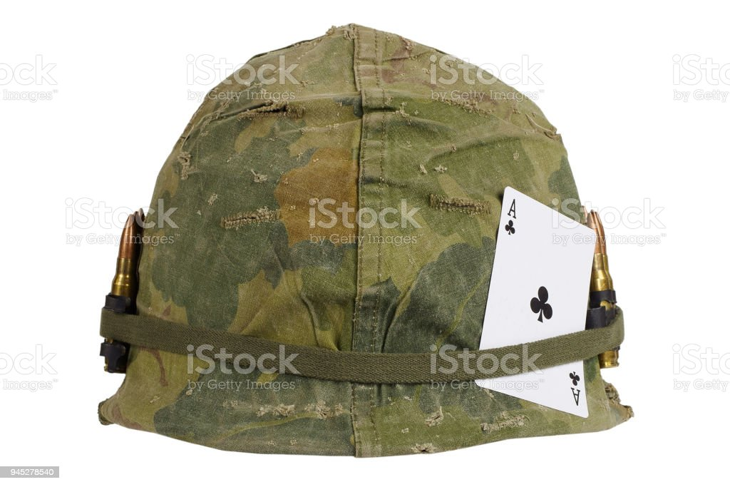 Us Army Helmet Vietnam War Period With Camouflage Cover And Ammo Belt And Amulet Ace Of Clubs Playing Card Stock Photo Download Image Now Istock